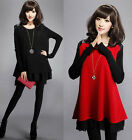 Hot Long Sleeve Knitted wool Sweater Mini tops dress 2 colors plus UK  size