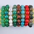 Mixed Stone 14MM Pick Beads Bracelet Stretch Gemstone Jewelry G741-G748