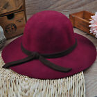 Fashion Girl's  Wide Brim Wool Felt Bowler Fedora Hat Floppy Cloche Cap YH0020