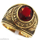 Mens US Navy Red Stone Military 18kt Gold Plated Stainless Steel Ring