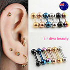 1PC Titanium Surgical Gothic Ear Round Barbell Ball Stud Piercing Earrings plug