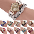 Women's New Vogue Two Tone Rhinestone Wrap Faux Suede Bracelet Wrist Watch