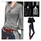 Fashion Womens Cashmere Blend V-neck Lantern Sleeves Hollow Out Sweater New - CB