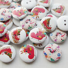 E641 Santa Christmas Sleigh Wood Buttons 20mm Sewing Mix Lots 10/50/100/500pcs