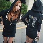 Womens Casual Angel Wings Print Jumper Hoodie Sweater Mini Dress Long Sleeve-S