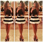 Long Sleeve Slim Black White Stripes Swing Skater Dress Party Prom Bodycon Dress