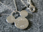 SILVER NECKLACE MICKEY MOUSE PENDANT CHAIN CHARM JEWELLERY XMAS IDEA WN006