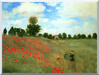 Claude Monet Wild Red Poppies at Argenteuil Repro Stretched Canvas Art Print