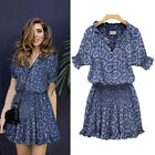 Sexy Womens Floral Summer Casual Short Sleeve Mini Dress Party Dress Stylish