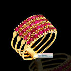 14k Gold & Ruby Turkish Harem Ring 4 Band w/ 8 Gems Per Band - FREE Ship To All