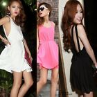 Womens Strappy Backless Pleated Dress Sleeveless Slim Cocktail Clubwear Sundress