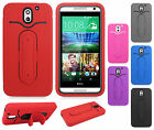 For HTC Desire 610 Rubber Hybrid HARD Case Cover Snap Tail STAND + Screen Guard