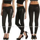 Women Black Stretch Faux Leather Splice Skinny Slim Legging Pants Trousers S-XXL