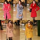 Women's Wool Slim Double-Breasted Trench Parka Faux Fur Winter Coat Jacket L-5XL