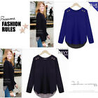 New Womens blouses Cotton tops T-Shirt long sleeves  Loose Casual Fake piece ch