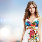 Ever Pretty Double V-neck Empire Line Floral Printed Satin Cocktail Dress 03381