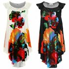 Ladies Sleeveless Crochet Floral Print Side High Low Studded Women's Tunic Top