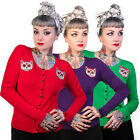 Banned New Knitted Day Of The Dead Cat Rockabilly Vintage Cardigan Jumper Top