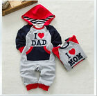 New Cotton Hooded Clothes Kids Baby Boy Girl Playsuits Xmas Climb Clothes