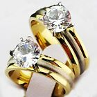 Top New Men's Women's 316L Stainless Steel AAA CZ Gold Wedding Engagement Ring
