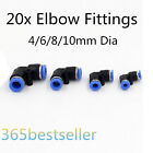 20x Pneumatic Push In Elbow Fittings for Air/Water Hose / Tube 4/6/8/10mm OD