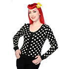 Banned Black Knitted Polka Dot Rockabilly Vintage 50s Cardigan Top
