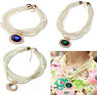 Occident Bib Choker Multilayer Faux Pearl Gemstone Gems Charm Necklace