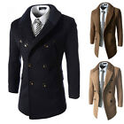 Mens Knitted Lapel Collar Peacoat Double Breasted Slim Long Trench Coat Overcoat