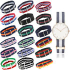 18/20/22mm Army Style Military Nylon Wrist Watch Band Strap Stainless Buckle