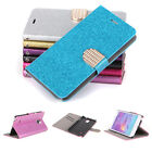 For Samsung Galaxy Note 4 Glitter Bling Leather Flip Wallet Folio Case Cover HOT