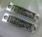 "wholesale: Retro Style delicate ""believe"" alloy Charms connector 35x10mm"