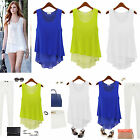 ZANZEA Women Double Layer Chiffon Sleeveless Floaty Vest Top TShirt Blouse S-XXL