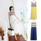 Vintage Bohemian Women Girl Beach Long Dress Sequins Style Chiffon Maxi