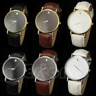 Men Women Geneva Stunning Minimalism Faux Leather Band Unisex Quartz Wrist Watch