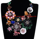 Fashion Jewelry Chain Resin Crystal Flower Collar Choker Statement Bib Necklace