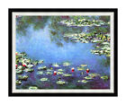 Framed Wall Art Claude Monet Blue Water Lilies Giverny Repro Canvas Giclee Print