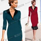 Women Elegant Cotton Prom Business Party Cocktail Mermaid Midi Evening Dress B27