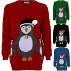 Ladies Christmas XMAS Festive 3D Bell Hat Women's Knitted Penguin Jumper