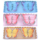 2 X BUTTERFLY CANDLE GLITTER DECORATION GIFT SET XMAS MOOD TEA LIGHT TEALIGHT