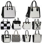 BLACK AND WHITE CHLOE WARD BAGS Ladies Designer Leather Style Celebrity Tote