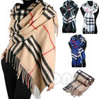 Women Men Lady Unisex Long Soft Wrap Shawl Stole Warm Plaid Check Winter Scarf