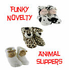 Womens Girls Funky Cosy Cute Novelty Soft Padded Animal Booties Slippers UK 3-8
