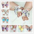 Shining Rose Flower Girls Shabby Chiffon Barefoot Baby Sandals Shoes Toe Blooms