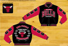 Chicago Bulls Jacket Champions Commemorative Logos NBA Jacket Black-Red FREE S&H
