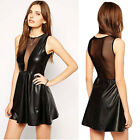 Sexy Women Leather Look Sleeveless Bodycon Mesh Open Back Clubwear Skater Dress