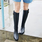 NEW Women Fashion Trendy Knee High Rubber Rain Boots Black/Brown
