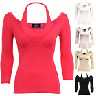 New Ladies 3/4 Sleeves V Halter Neck Gathered Women's Blouse Top