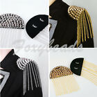 2x Punk Semi-circle Rivet Spike Studded Tassels Fringed Epaulette Shoulder DIY