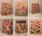 Pack of 12 Natural Kraft Brown Paper Gift Bags Floral Flowers Butterfly Owls