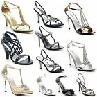 Womens Evening Party Diamante Wedding Bridal Sandals Peep Toe Shoes Size 3-8